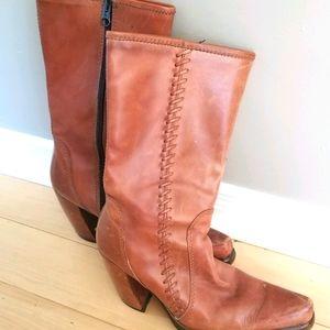 Western leather heeled boots